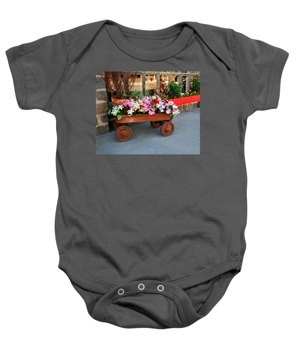 Wagon Baby Onesie featuring the photograph Flower Wagon by Perry Webster