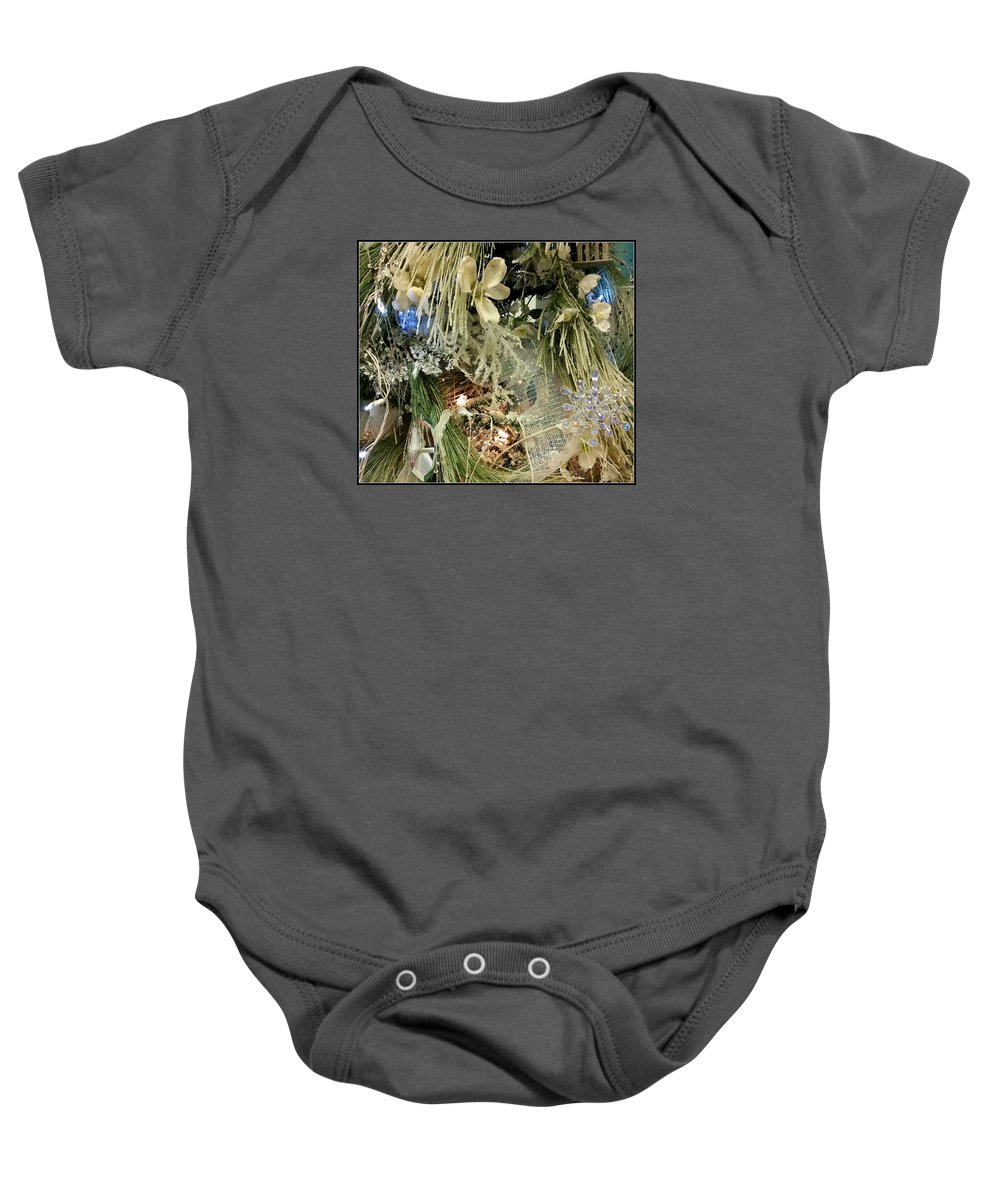Christmas Baby Onesie featuring the photograph Flowers And Icicles by Mina Thompson