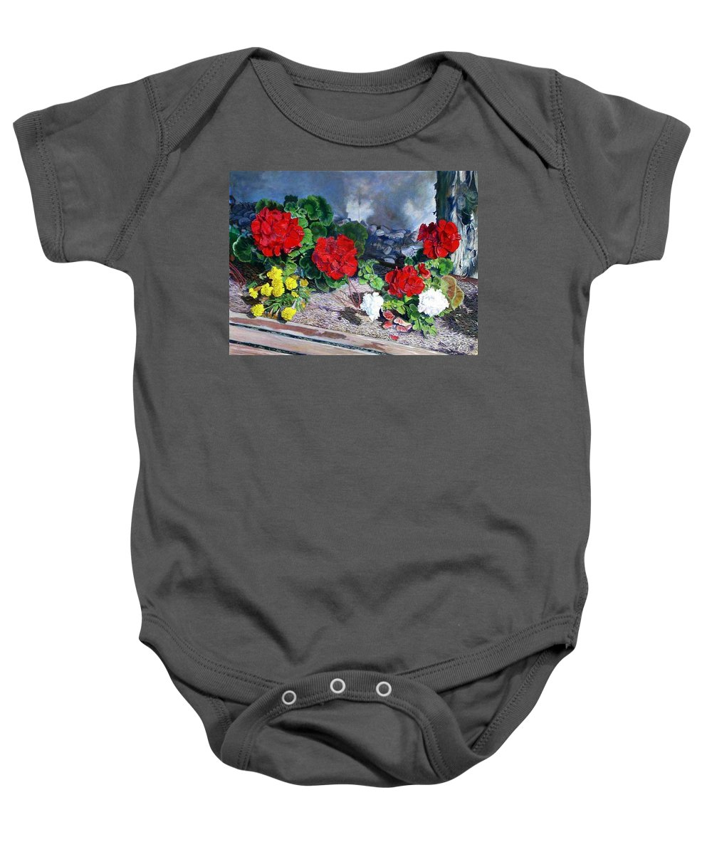 Colorful Flowers Outside Of The Church Baby Onesie featuring the painting Flowers At Church by Scott Robertson