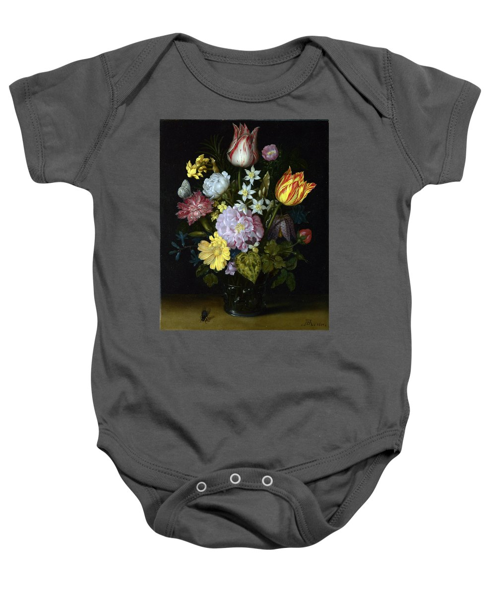 Ambrosius Bosschaert The Elder - Flowers In A Glass Vase Baby Onesie featuring the painting Flowers In A Glass Vase by MotionAge Designs