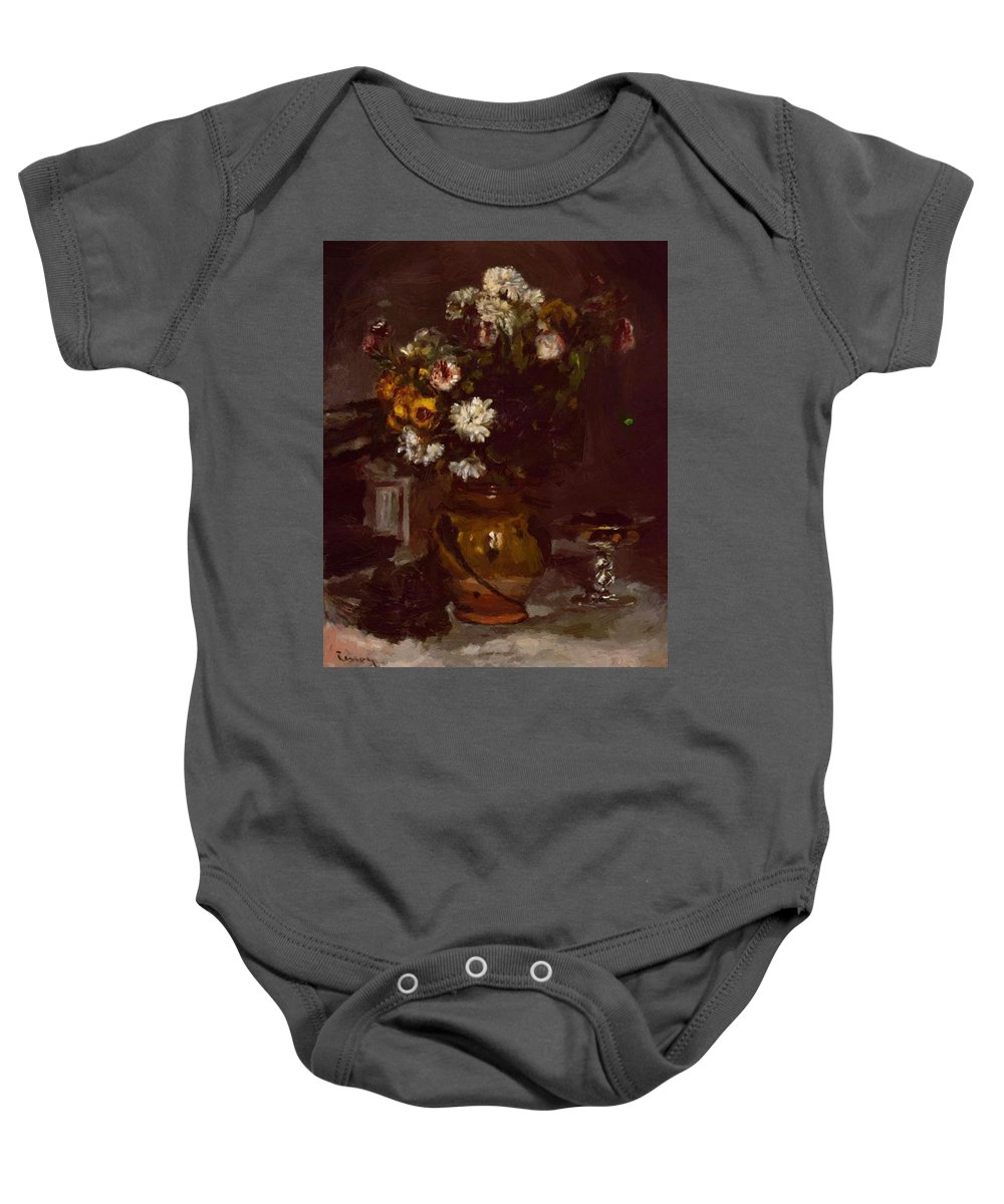 Flowers Baby Onesie featuring the painting Flowers In A Vase And A Glass Of Champagne by Renoir PierreAuguste