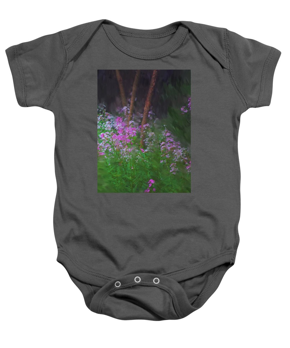 Landscape Baby Onesie featuring the painting Flowers In The Woods by David Lane