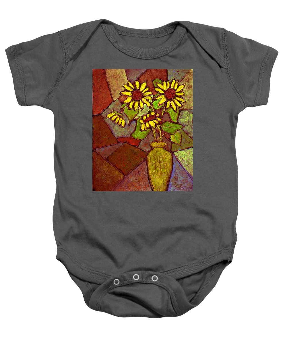 Sunflowers Baby Onesie featuring the painting Flowers In Vase Altered by Wayne Potrafka