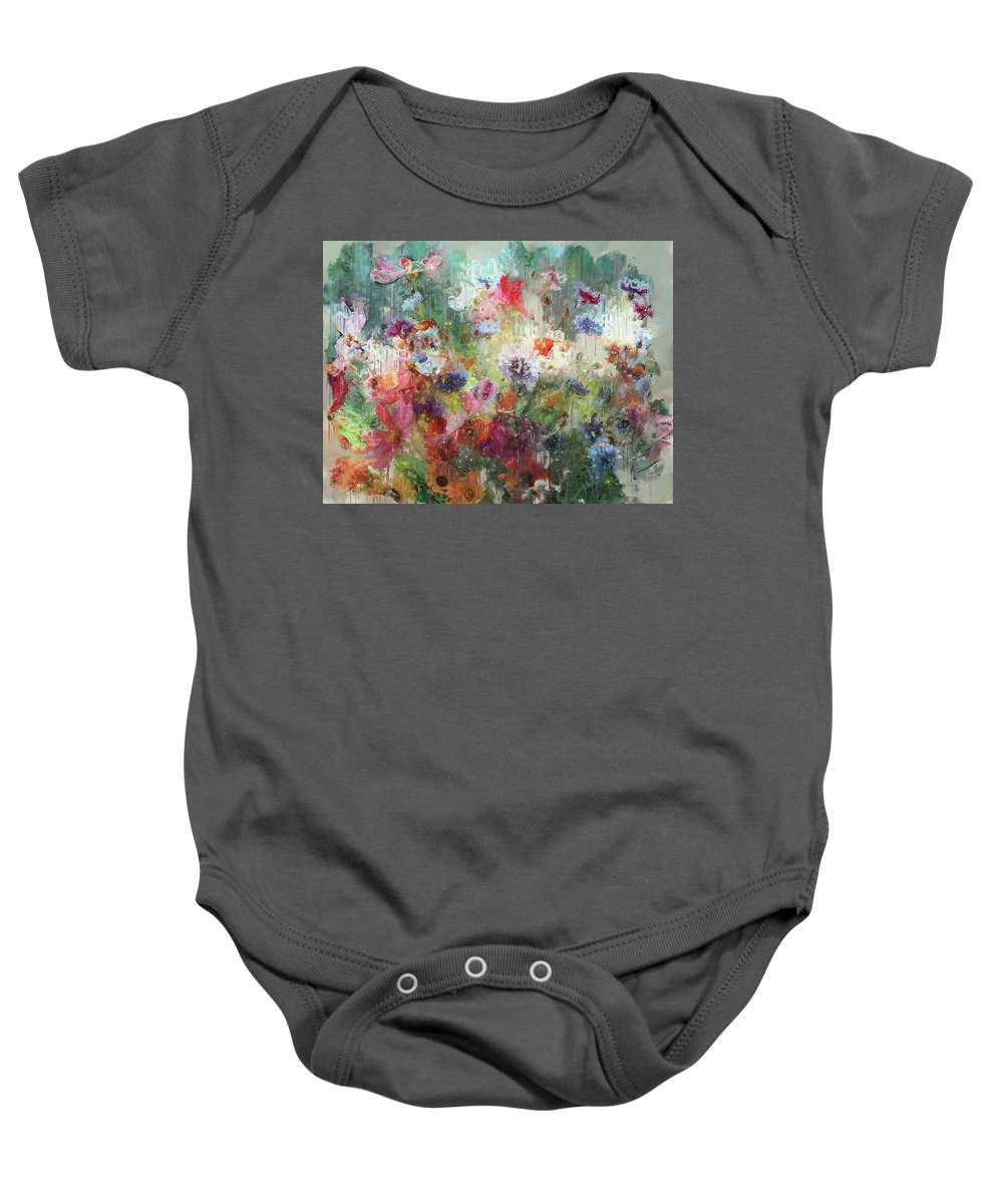 Flower Baby Onesie featuring the digital art Flowers On Canvas by Yury Malkov