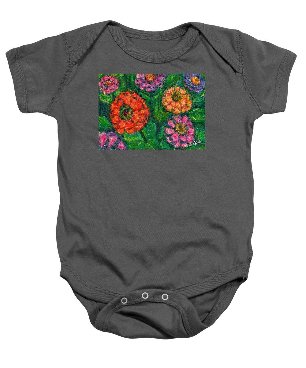 Flowers Baby Onesie featuring the painting Flowing Zinnias by Kendall Kessler