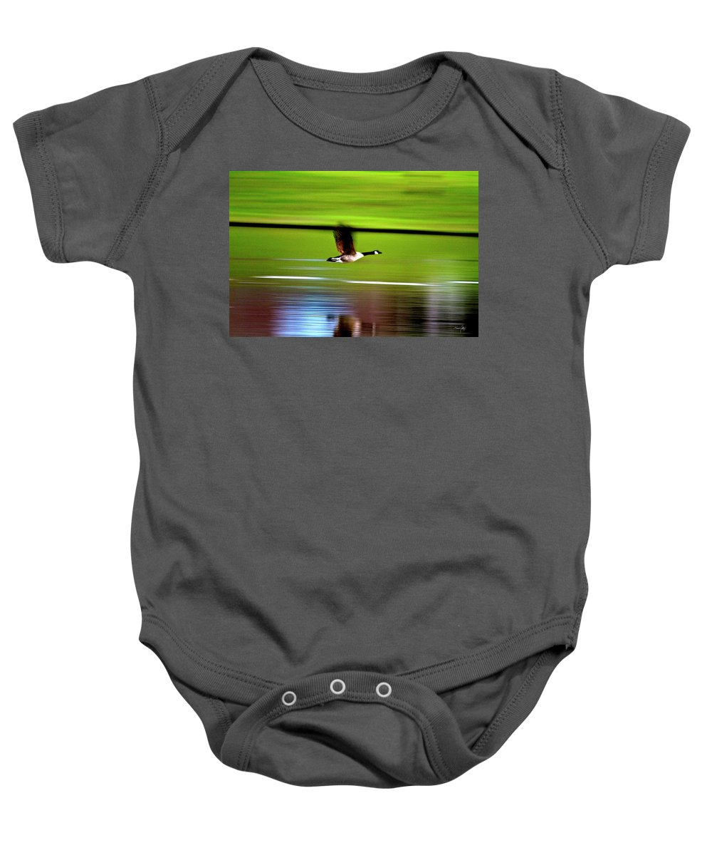 Goose Baby Onesie featuring the photograph Fly-by by Scott Pellegrin