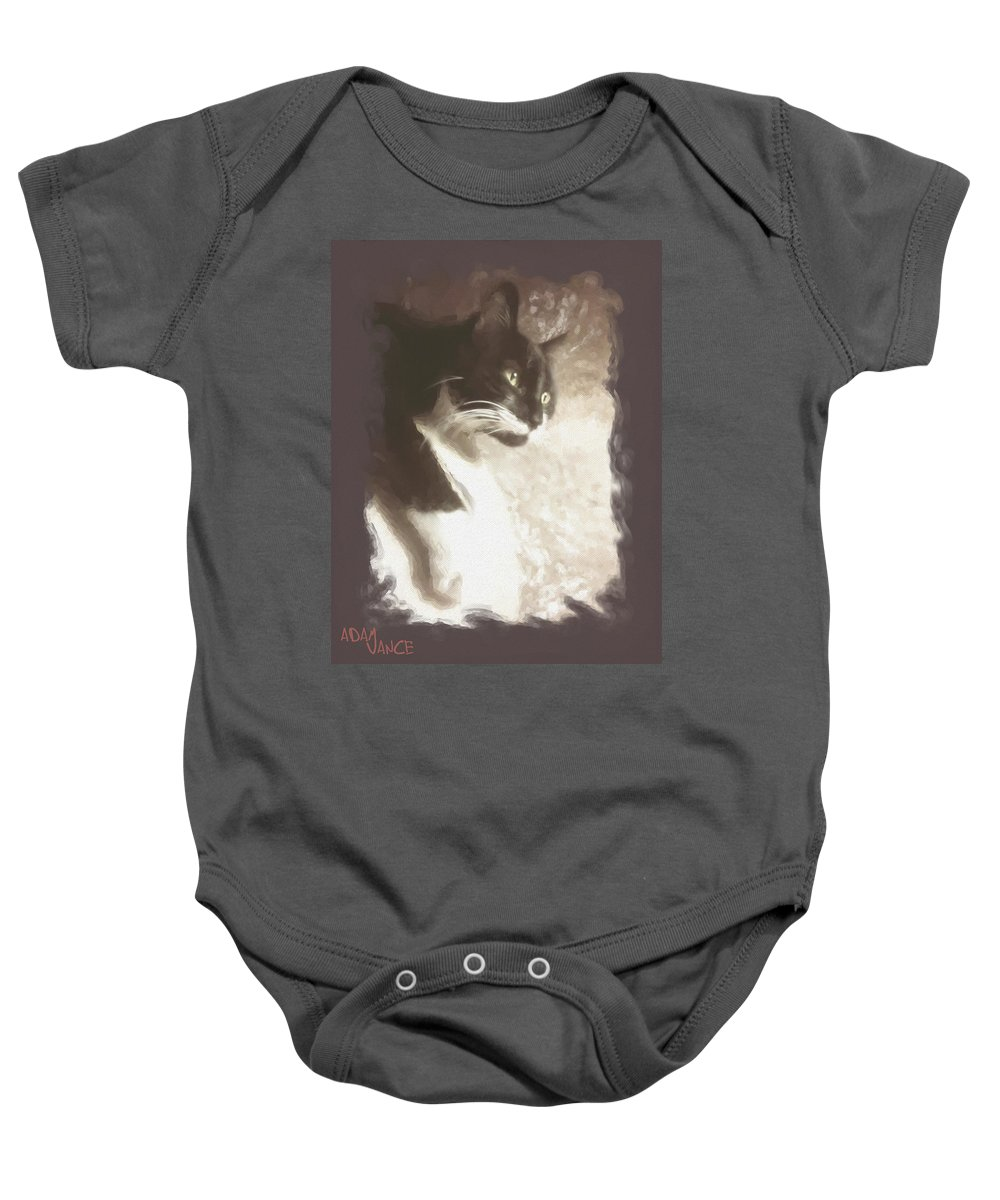 Animals Baby Onesie featuring the mixed media Fly Watching by Adam Vance