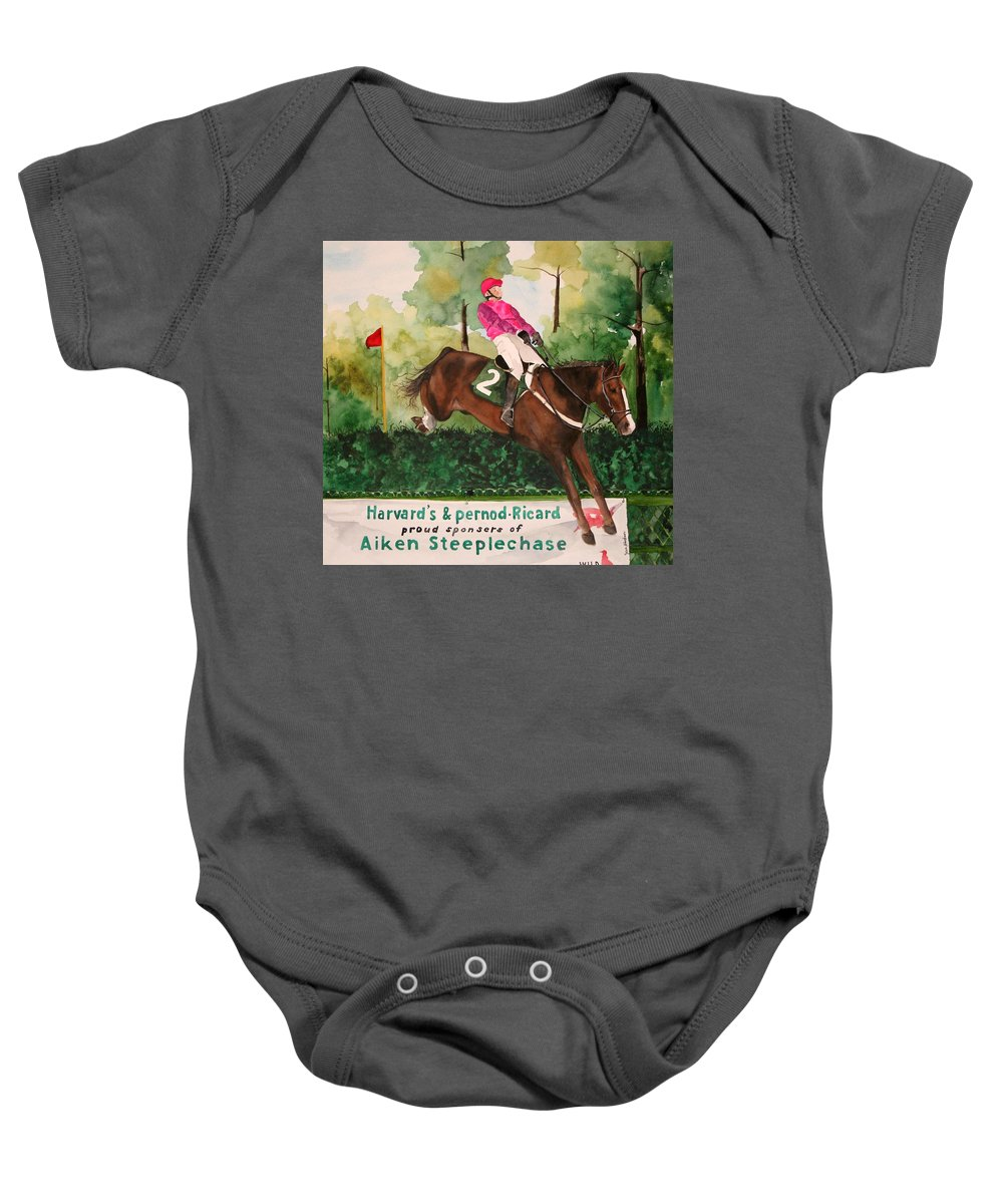 Horse Baby Onesie featuring the painting Flying High by Jean Blackmer