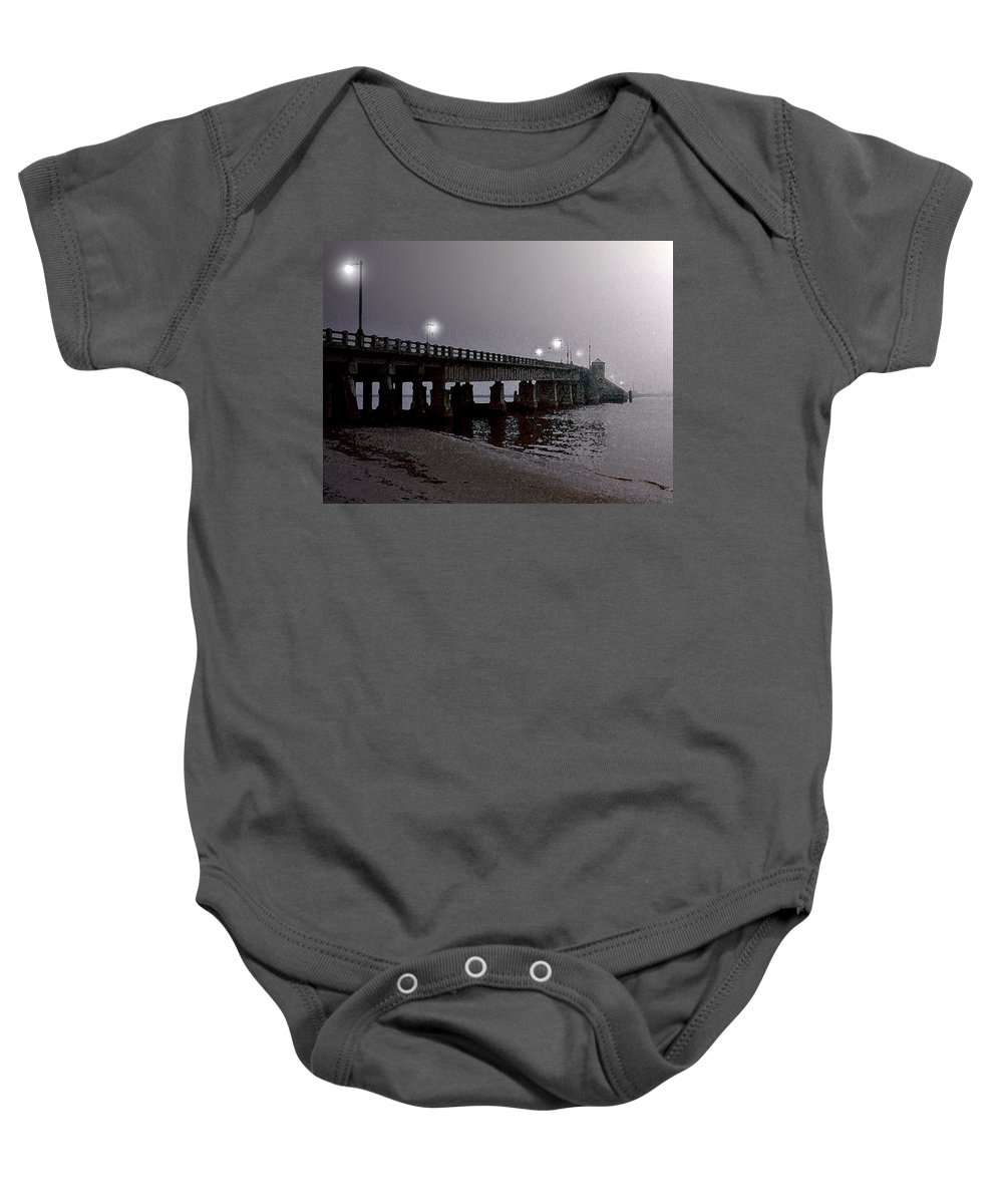 Landscape Baby Onesie featuring the painting Fog Shrouded by Paul Sachtleben