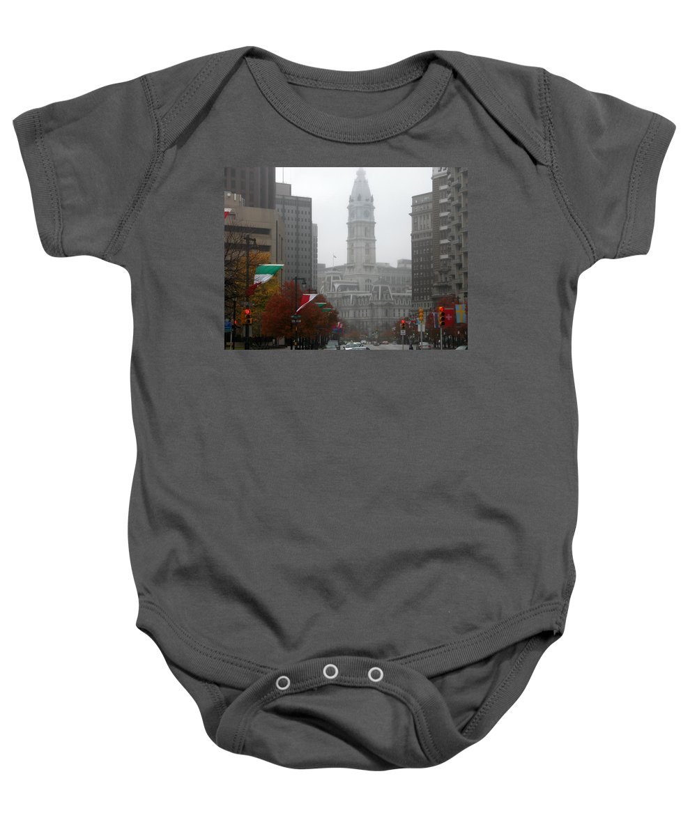 Photograph Baby Onesie featuring the photograph Foggy Philadelphia by Jan Gilmore