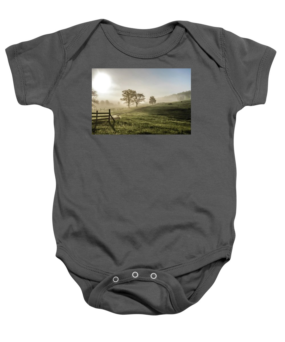Sun Rise Baby Onesie featuring the photograph Foggy Sun Rise by Keith Bowen