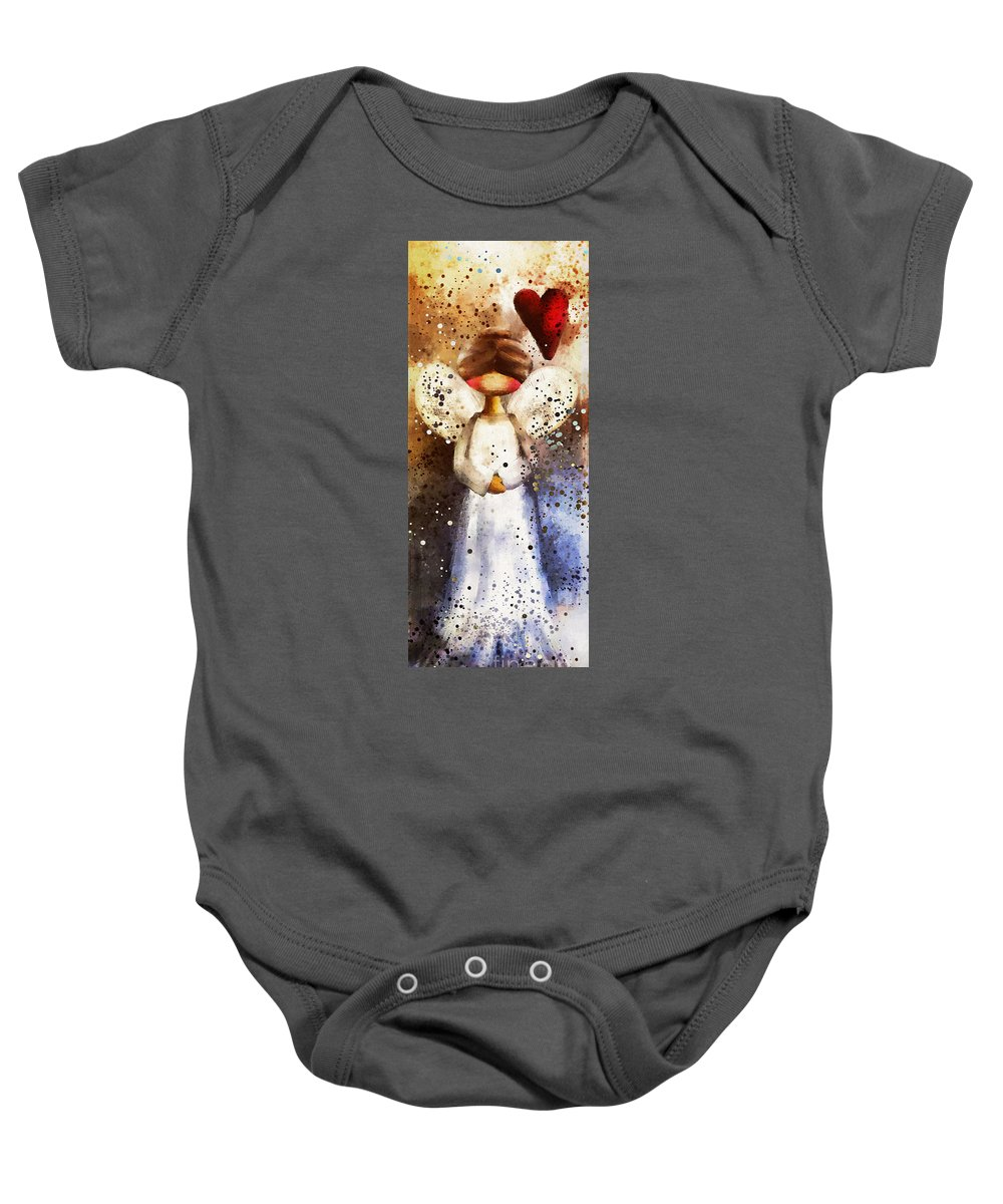 Angel Baby Onesie featuring the painting Folk Art Angel by Tina LeCour