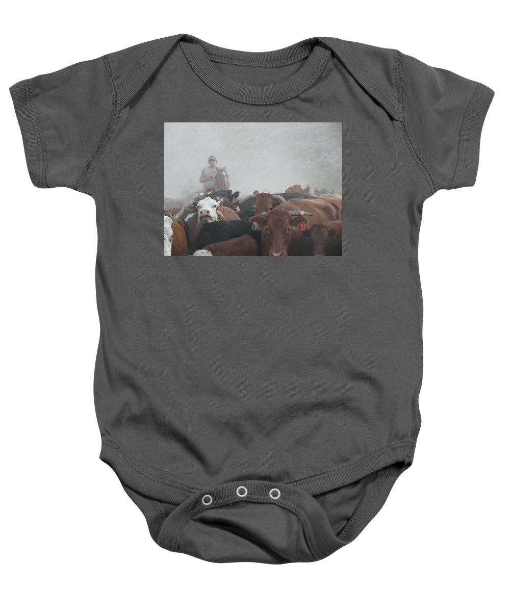 Cattle Baby Onesie featuring the photograph Food For Thought by Michael Balen