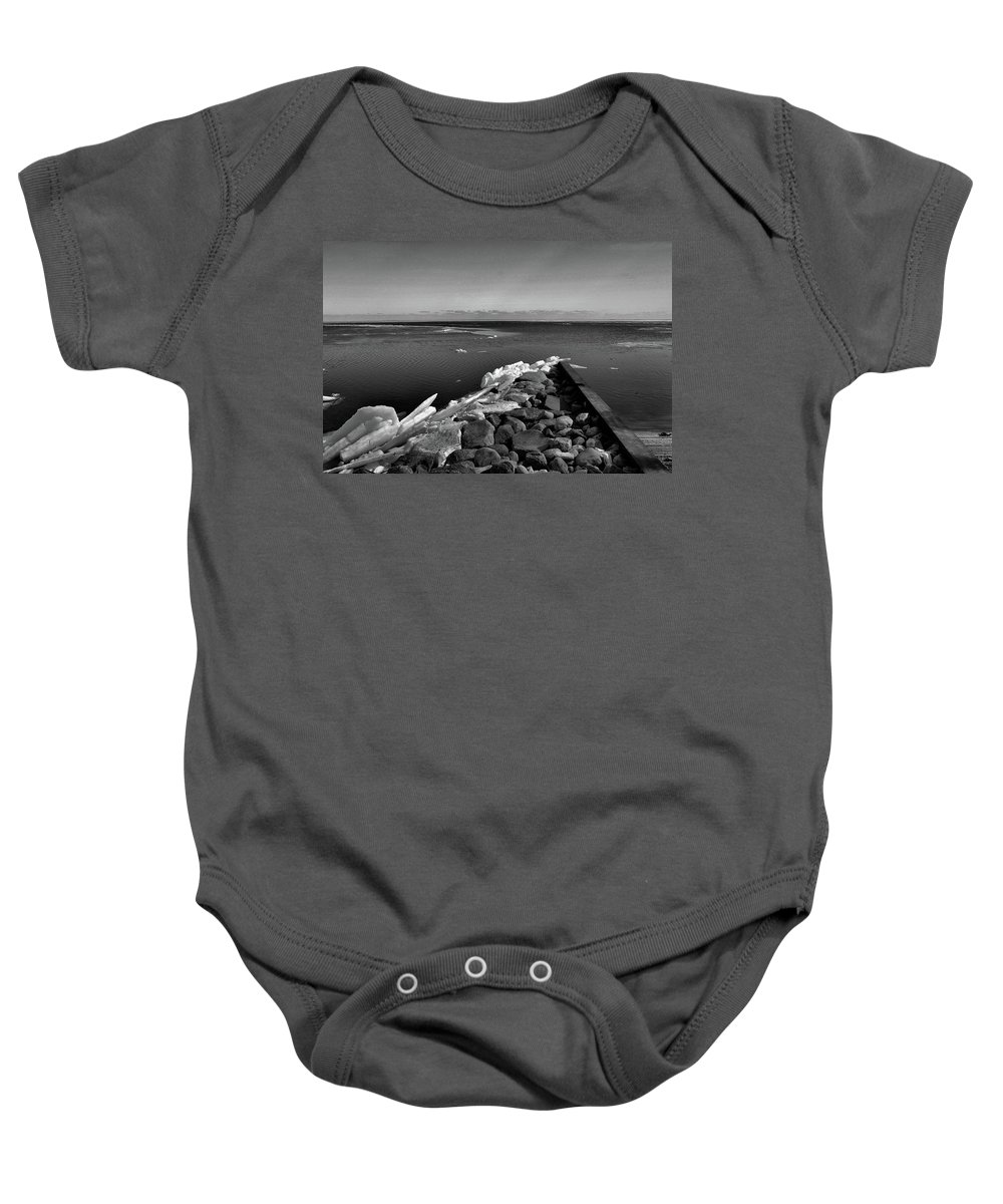Ice Baby Onesie featuring the photograph Foot Of 9th Line South Bw by Lyle Crump