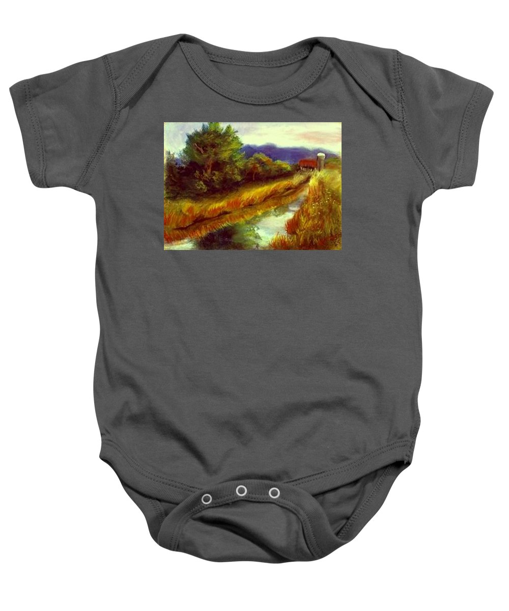 Landscape Baby Onesie featuring the painting For A Thirsty Land by Gail Kirtz