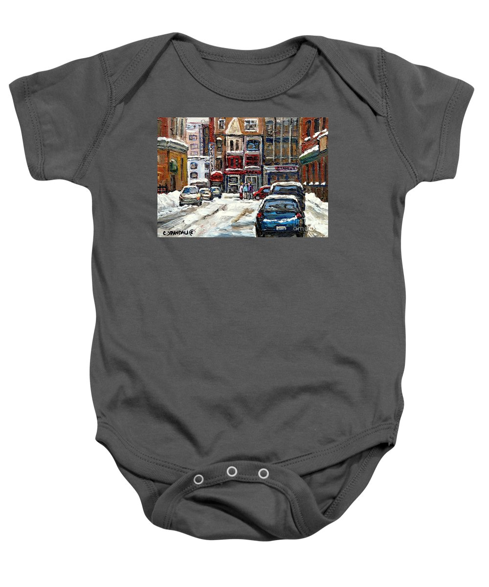 Downtown Montreal Art Baby Onesie featuring the painting For Sale Original Paintings Montreal Petits Formats A Vendre Downtown Montreal Rue Stanley Cspandau by Carole Spandau