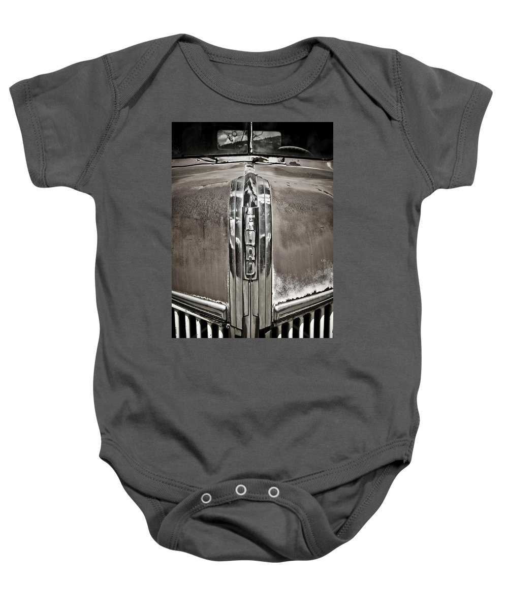 Americana Baby Onesie featuring the photograph Ford Chrome Grille by Marilyn Hunt