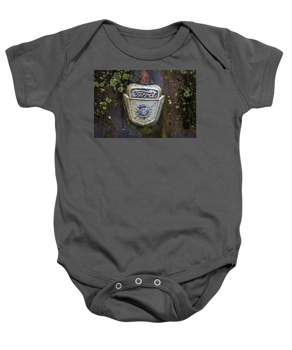 Appalachia Baby Onesie featuring the photograph Ford Emblem by Debra and Dave Vanderlaan