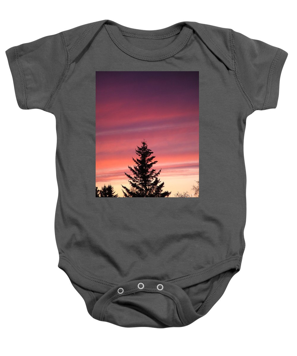 Sunset Photo Baby Onesie featuring the photograph Forest Grove Sunset by Nick Gustafson