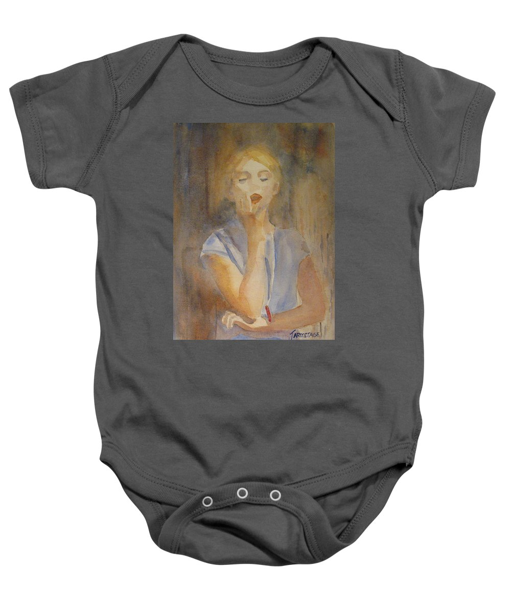 Woman Baby Onesie featuring the painting Forest Singer by Jenny Armitage