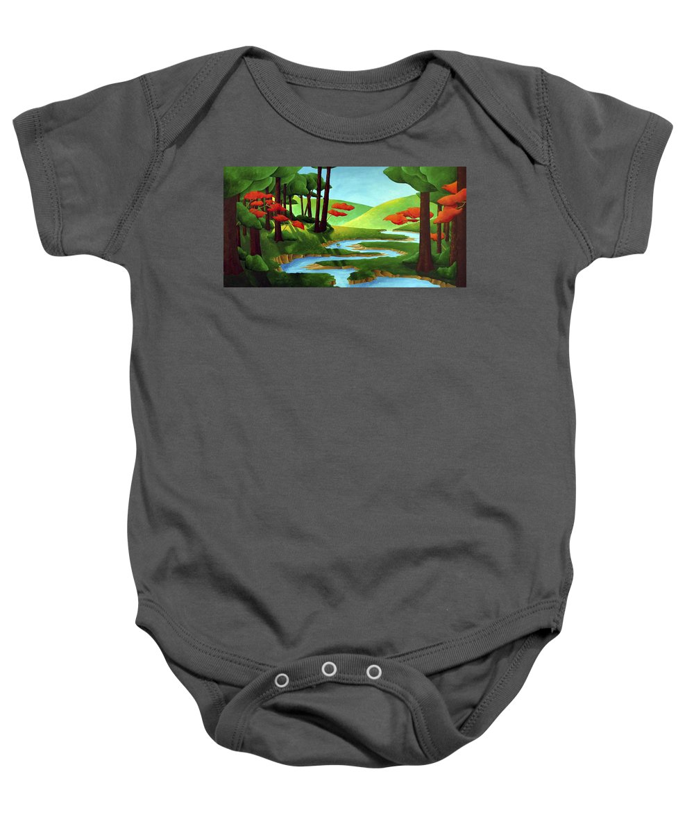 Landscape Baby Onesie featuring the painting Forest Stream - Through The Forest Series by Richard Hoedl
