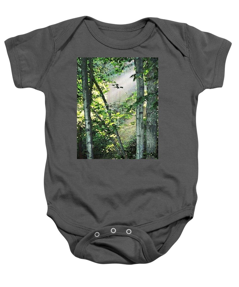 Forest Baby Onesie featuring the digital art Forest Sunbeam by Francesa Miller