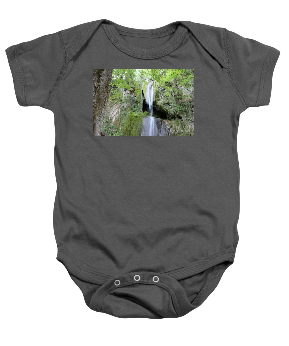 Waterfall Baby Onesie featuring the photograph Forest With Waterfall by Goce Risteski