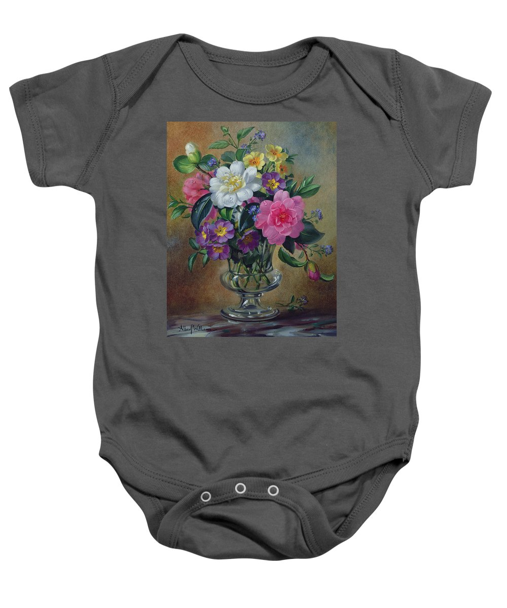 Still-life Baby Onesie featuring the painting Forget Me Nots And Primulas In Glass Vase by Albert Williams