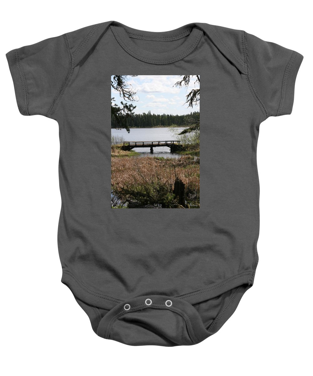 Lake Water Scenery Bridge Flooding Forest Nature Beauty Trees Baby Onesie featuring the photograph Forgotten by Andrea Lawrence