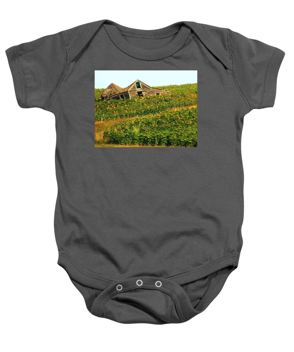 Old Building Baby Onesie featuring the photograph Forgotten by Marilyn Smith