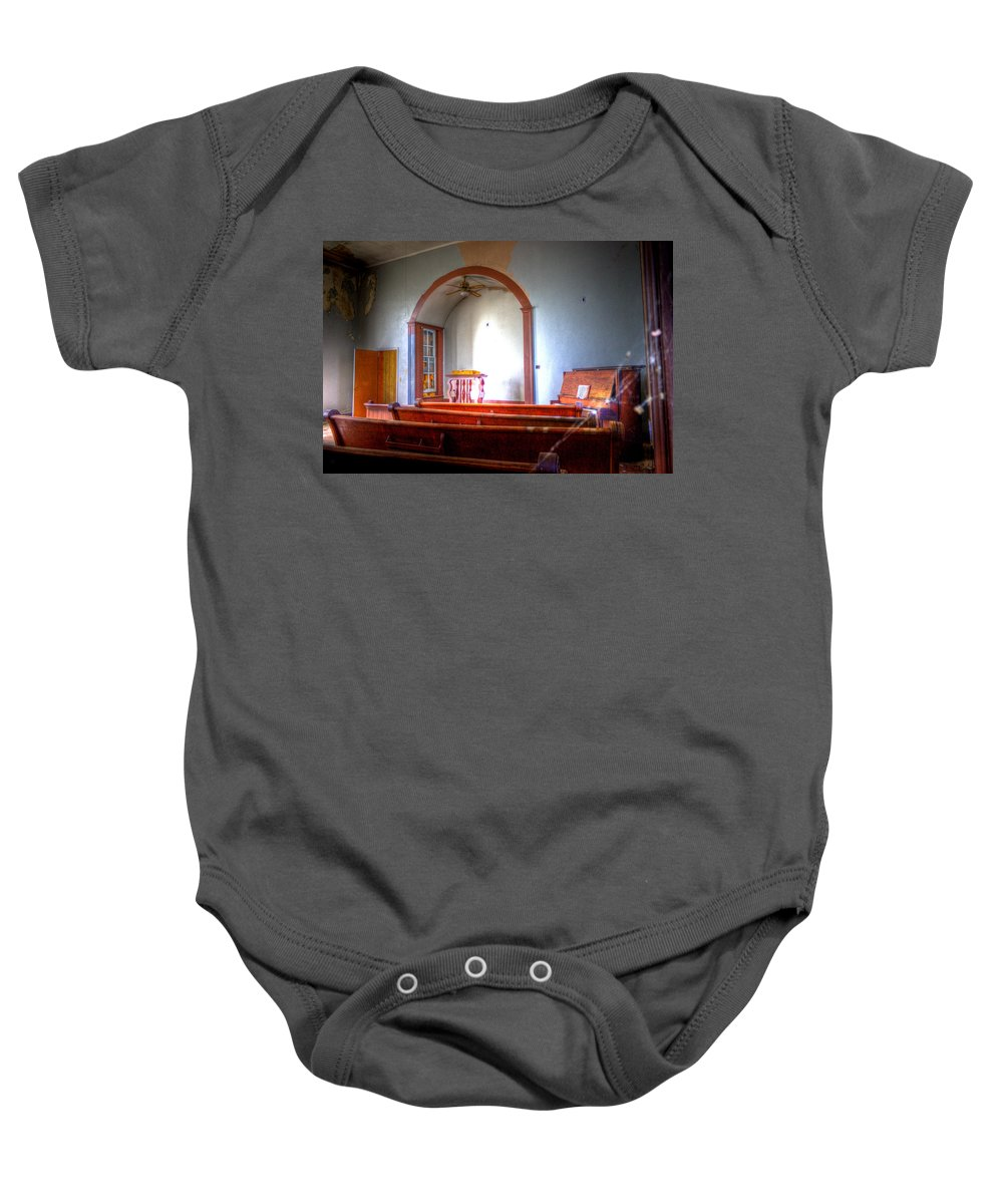 Church Baby Onesie featuring the photograph Forgotten Ministries by Jonny D