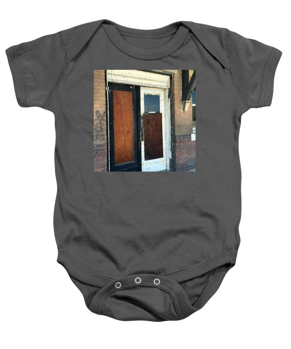 Former Waiting Room Doors Baby Onesie featuring the photograph Former Waiting Room Doors by James Pinkerton