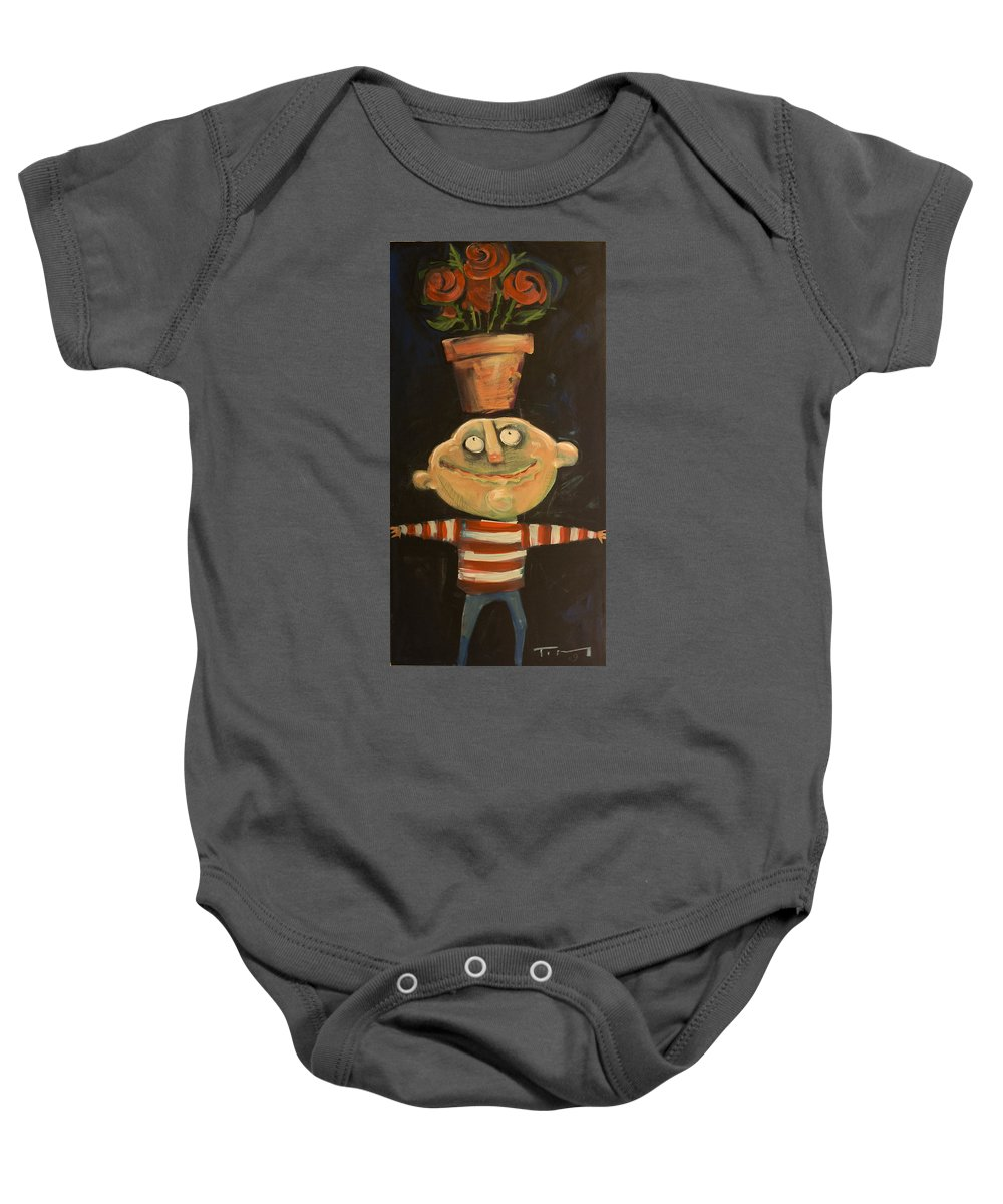 Man Baby Onesie featuring the painting Forrest The Florist by Tim Nyberg