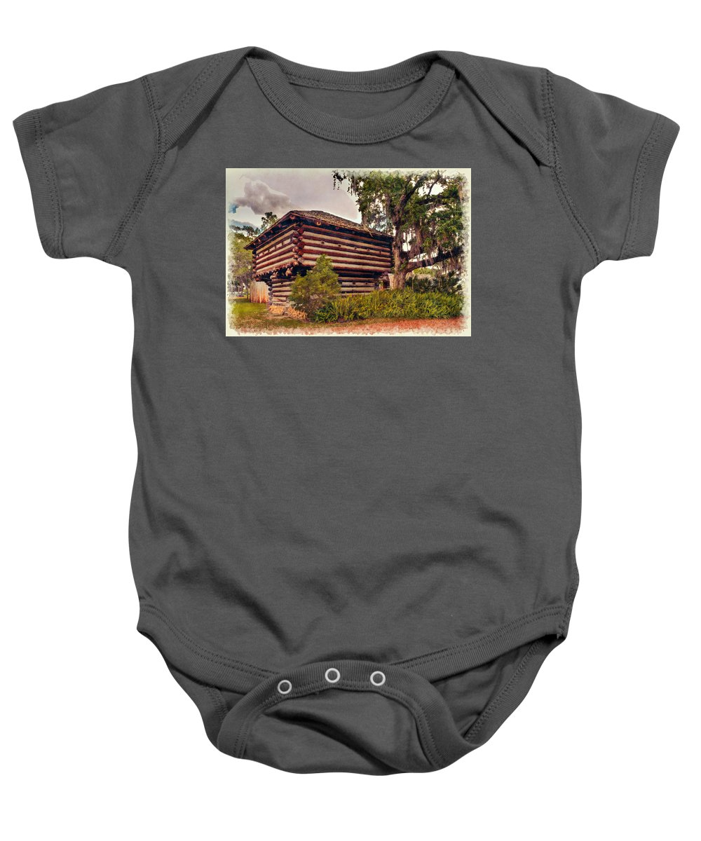 Architecture Baby Onesie featuring the photograph Fort Christmas Florida by John M Bailey