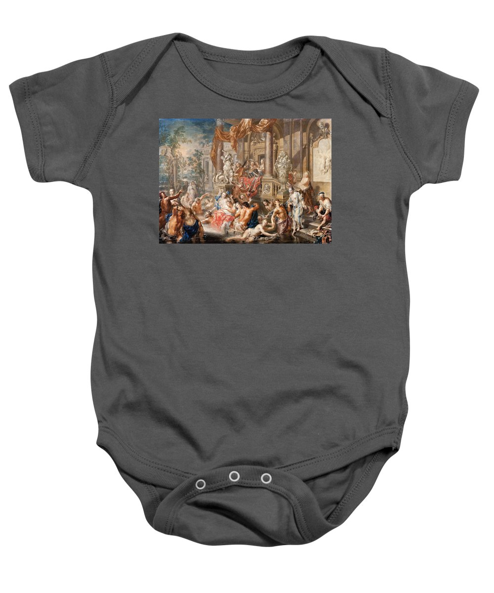 Johann Georg Platzer Baby Onesie featuring the painting Fountain Scene In Front Of A Palace by Johann Georg Platzer