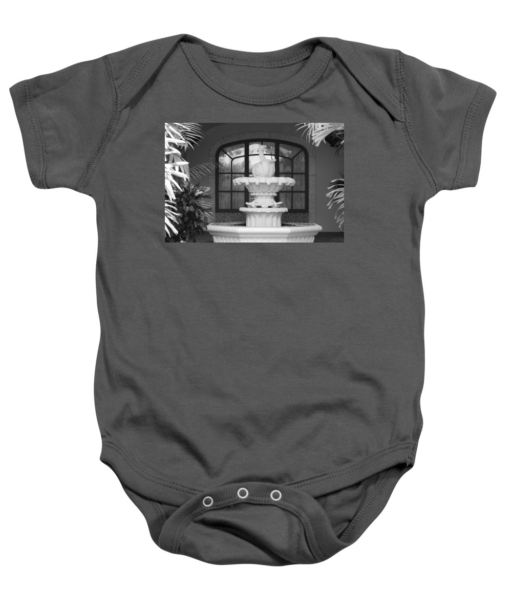 Architecture Baby Onesie featuring the photograph Fountian And Window by Rob Hans