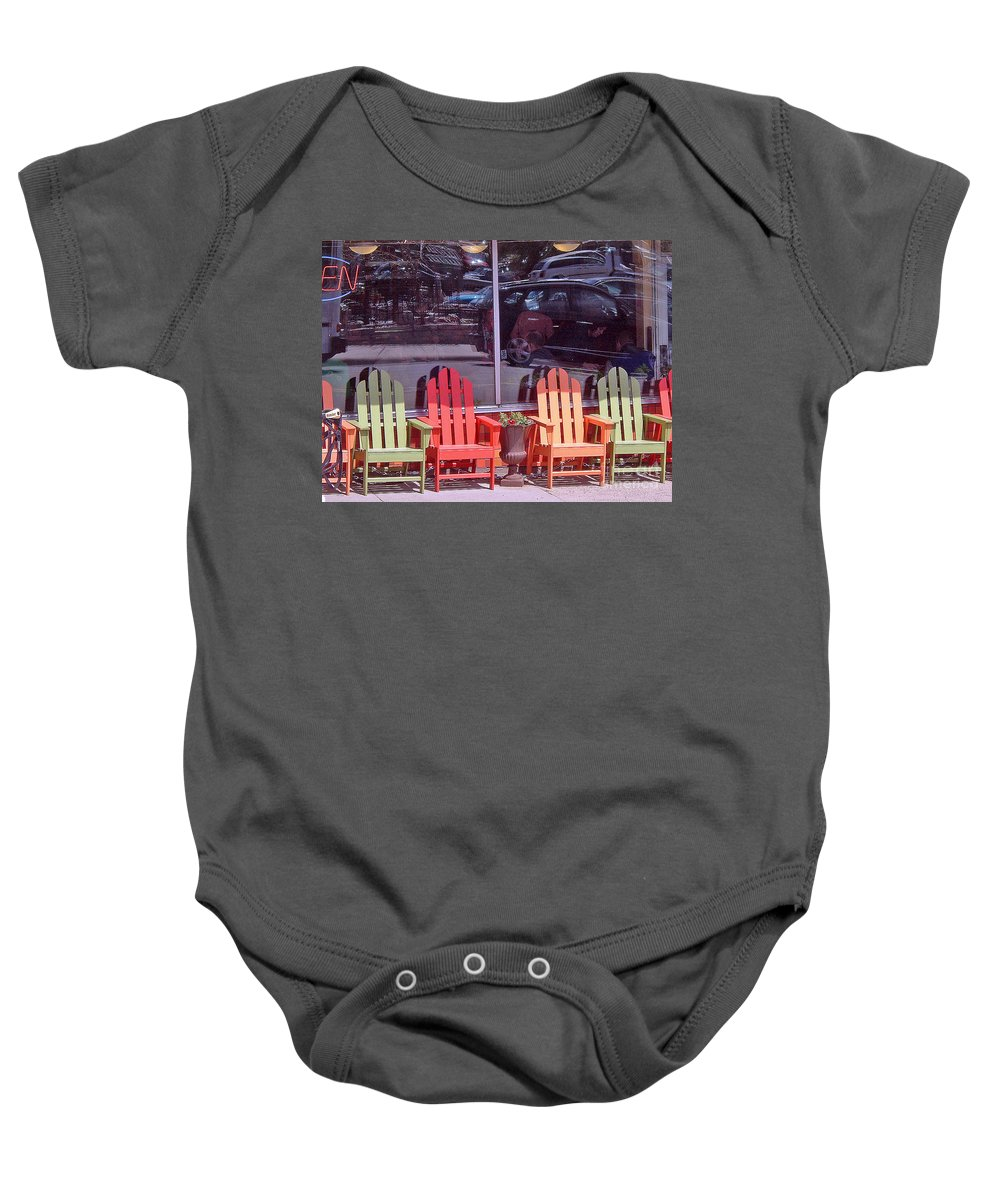 Chair Baby Onesie featuring the photograph Four Chairs by Paul Thompson