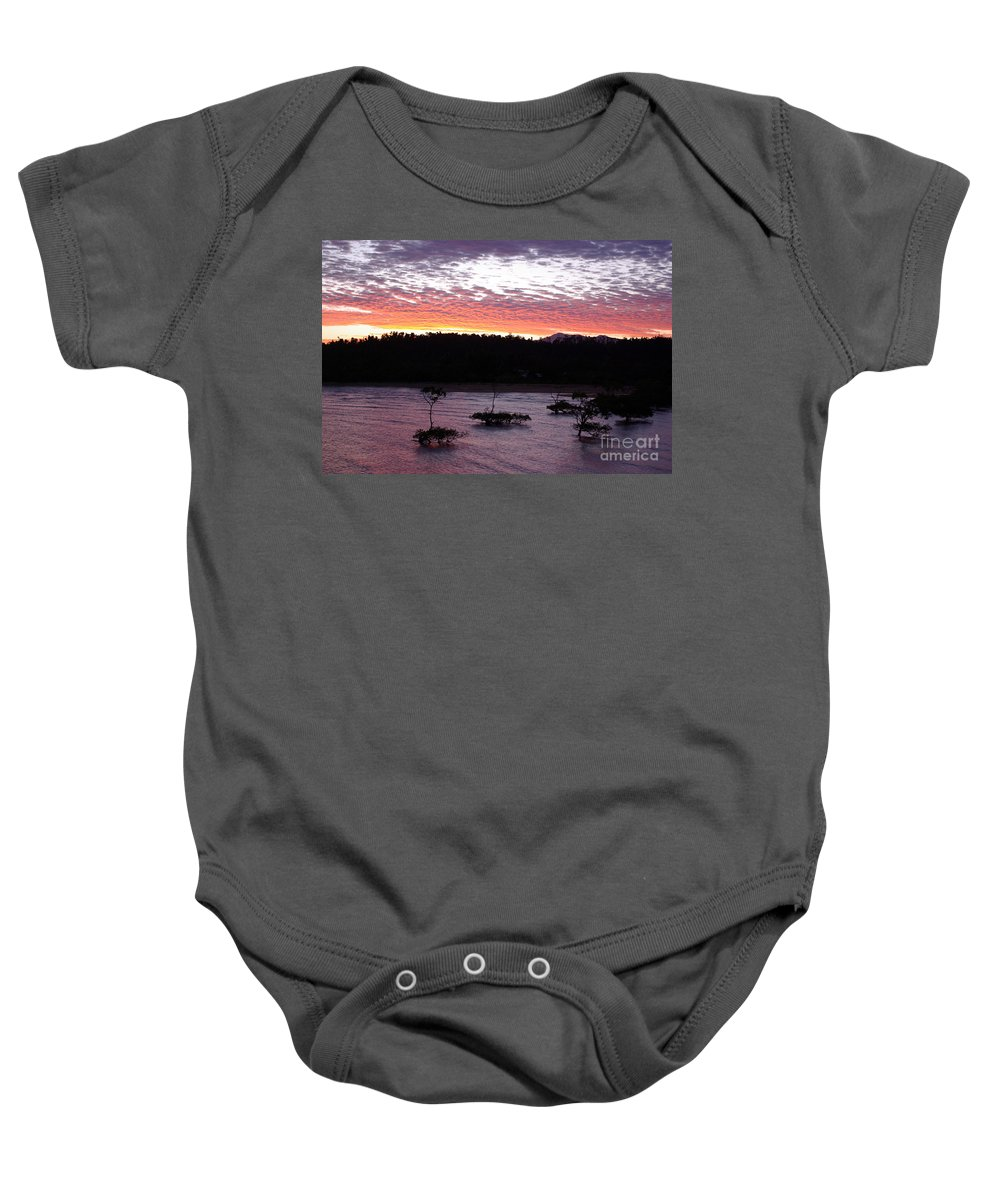 Landscape Baby Onesie featuring the photograph Four Elements Sunset Sequence 8 Coconuts Qld by Kerryn Madsen - Pietsch