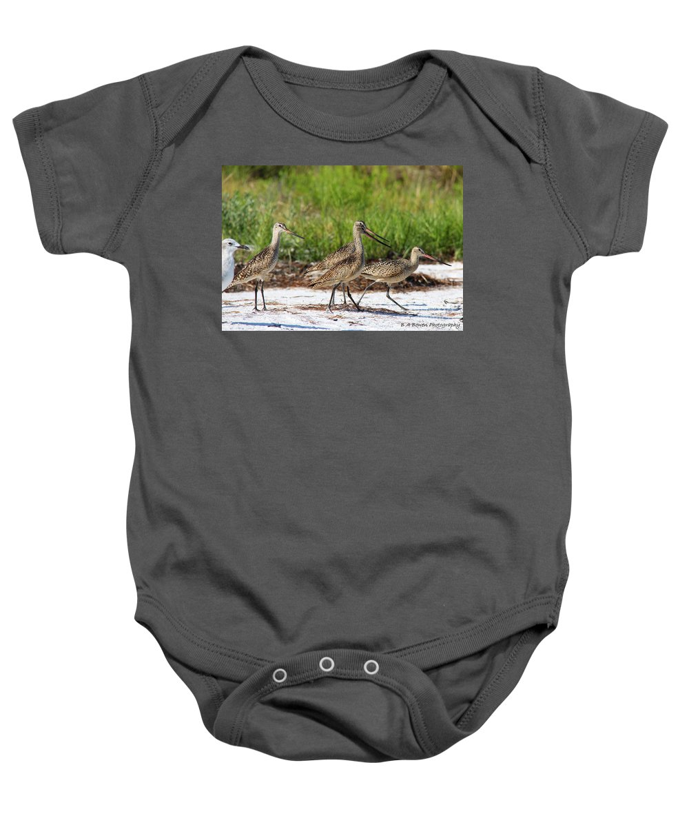 Marbled Godwit Baby Onesie featuring the photograph Four Marbled Godwits by Barbara Bowen