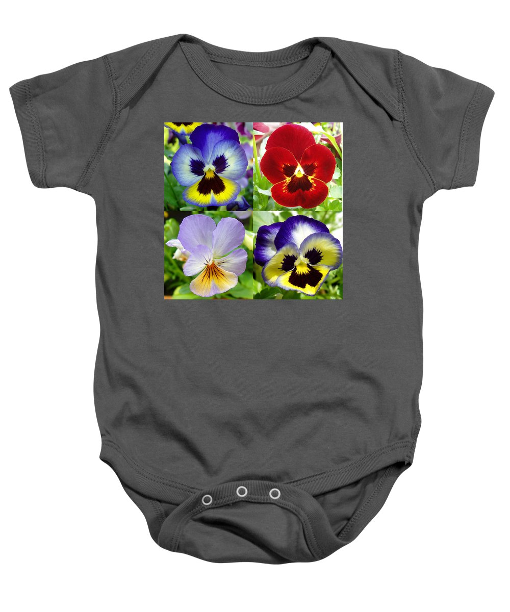 Pansy Baby Onesie featuring the photograph Four Pansies by Nancy Mueller