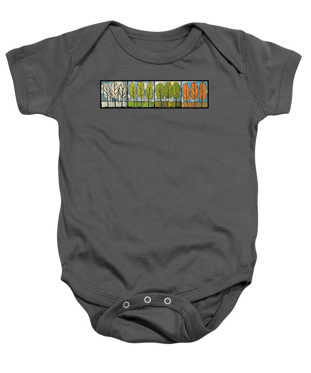 Trees Baby Onesie featuring the painting Four Seasons Tree Series by Tim Nyberg