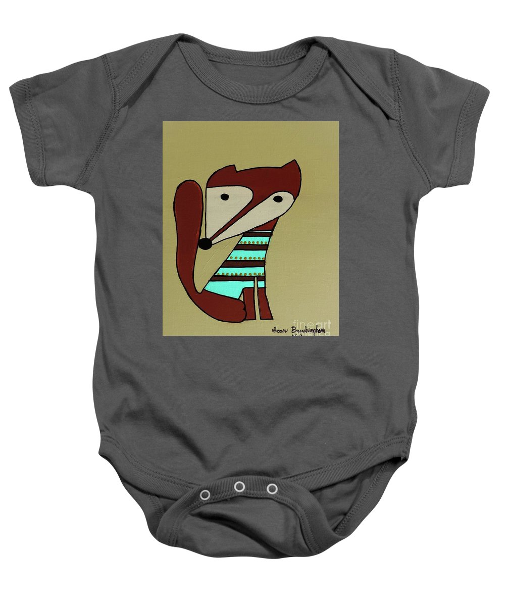Fox Baby Onesie featuring the painting Foxy Moxy by Sean Brushingham