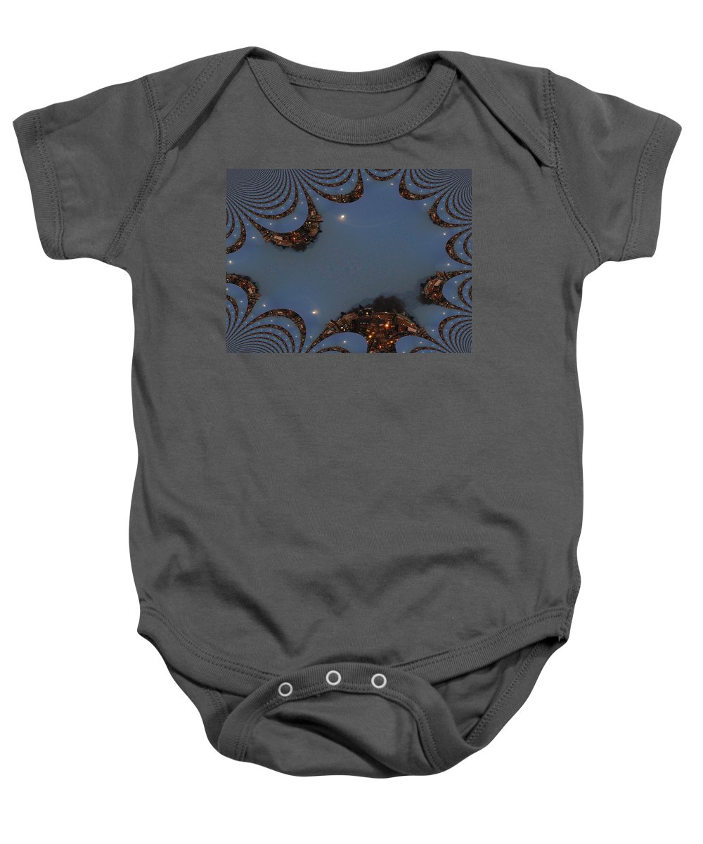 Moon Baby Onesie featuring the digital art Fractal Moon by Tim Allen