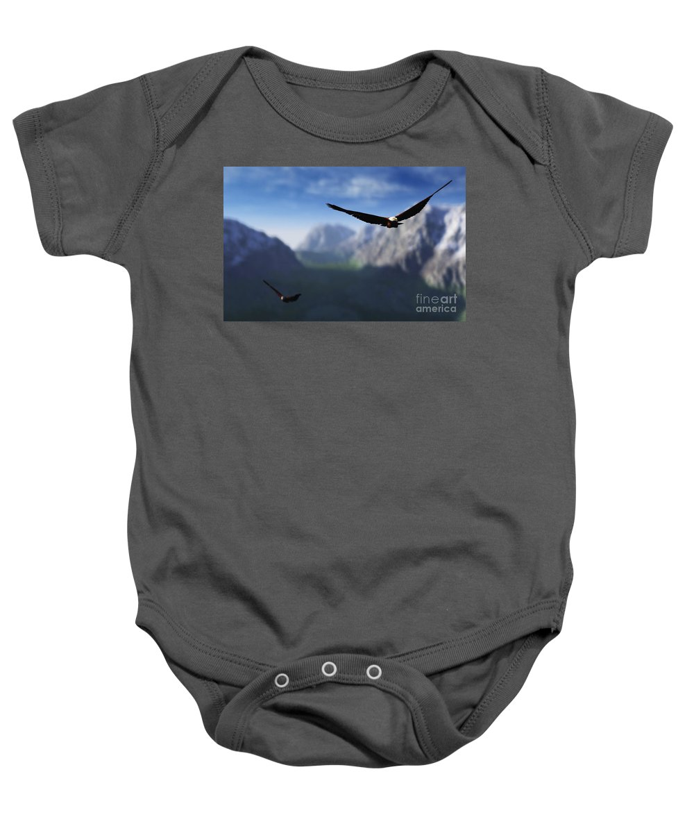 Eagles Baby Onesie featuring the digital art Free Bird by Richard Rizzo