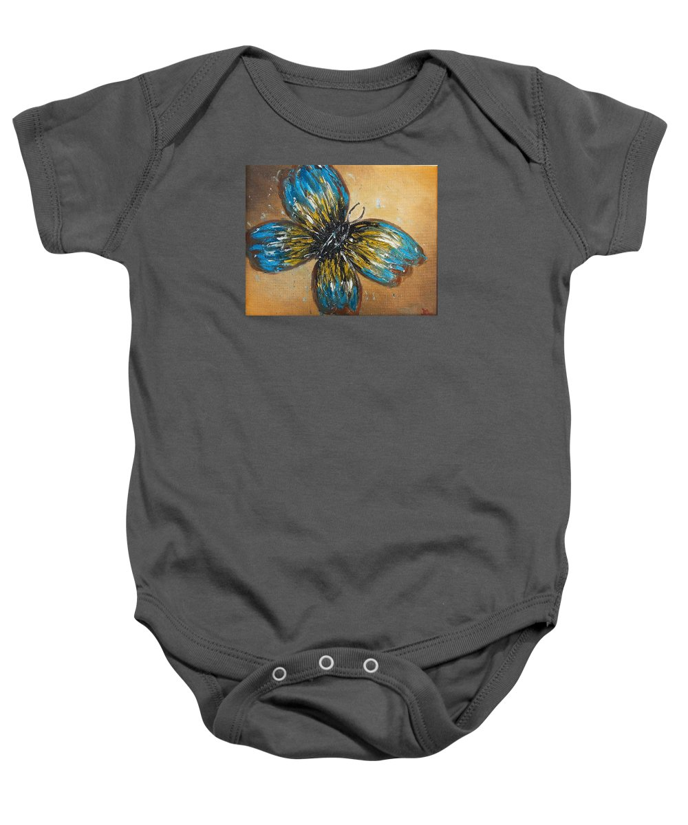 Butterfly Nature Free Colors Baby Onesie featuring the painting Free Butterfly by Denisa Olbojan