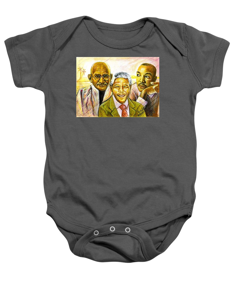 Portrait Paintings Baby Onesie featuring the painting Freedom Hero by Wale Adeoye