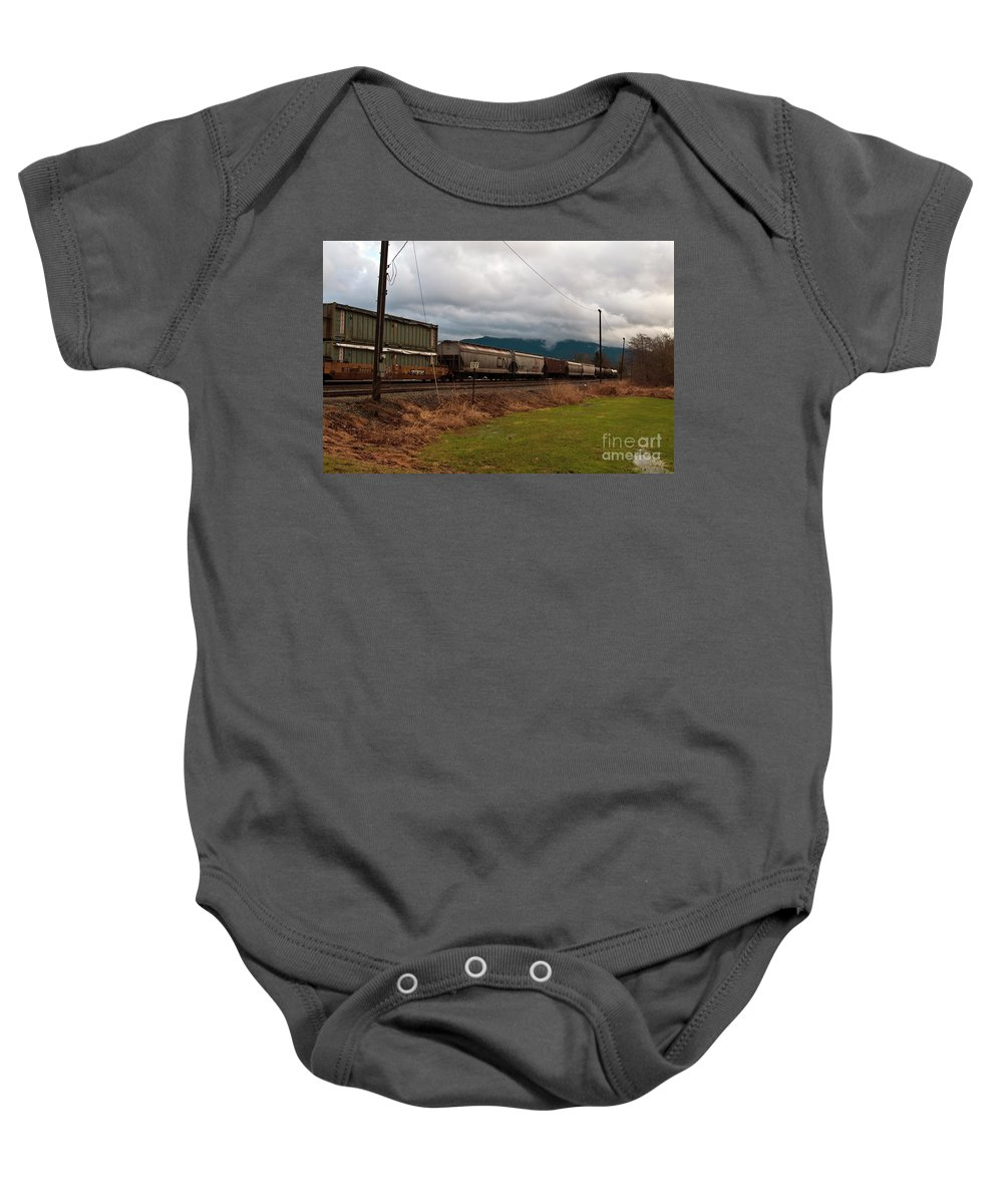 Clay Baby Onesie featuring the photograph Freight Rain by Clayton Bruster