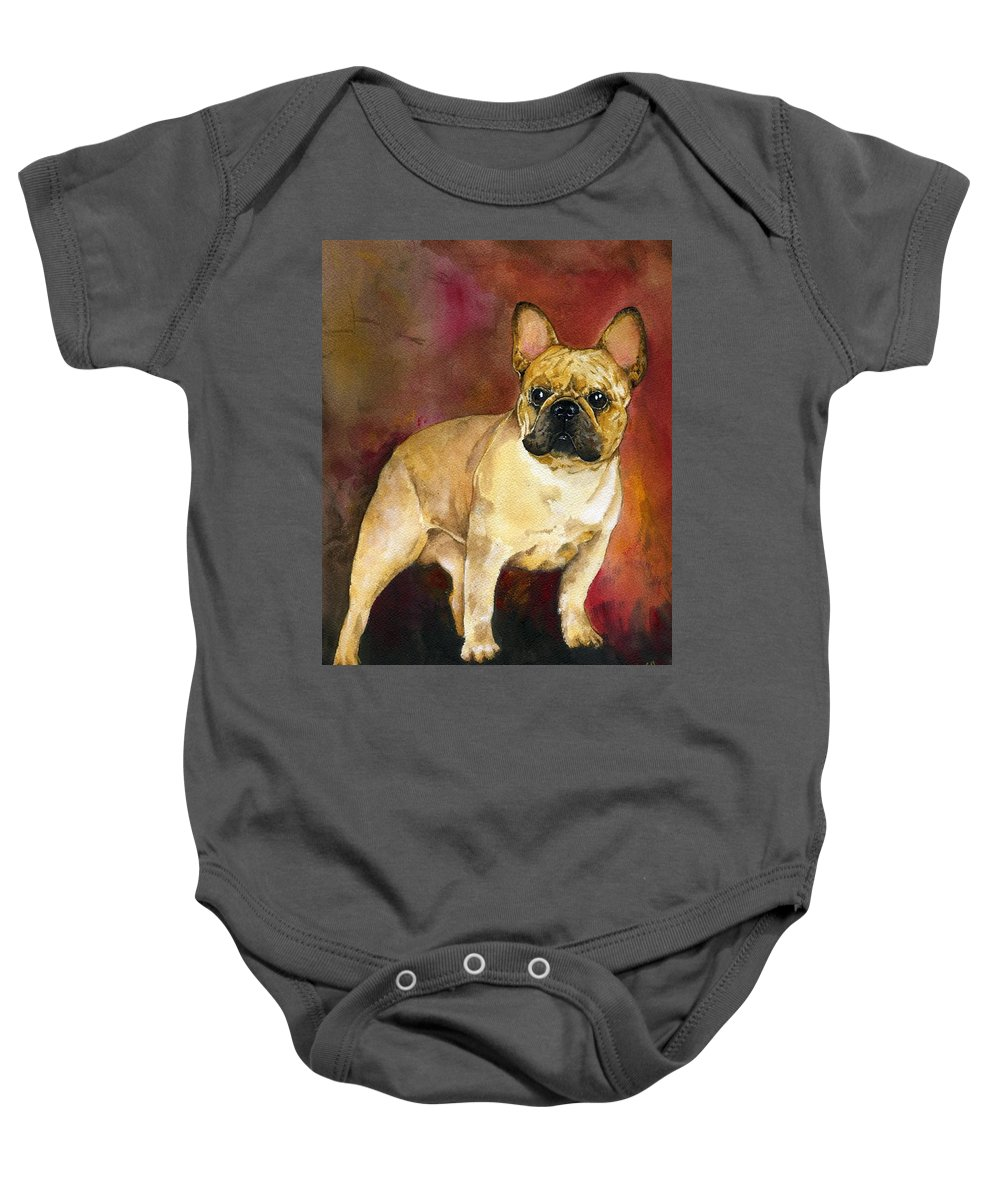 French Bulldog Baby Onesie featuring the painting French Bulldog by Kathleen Sepulveda