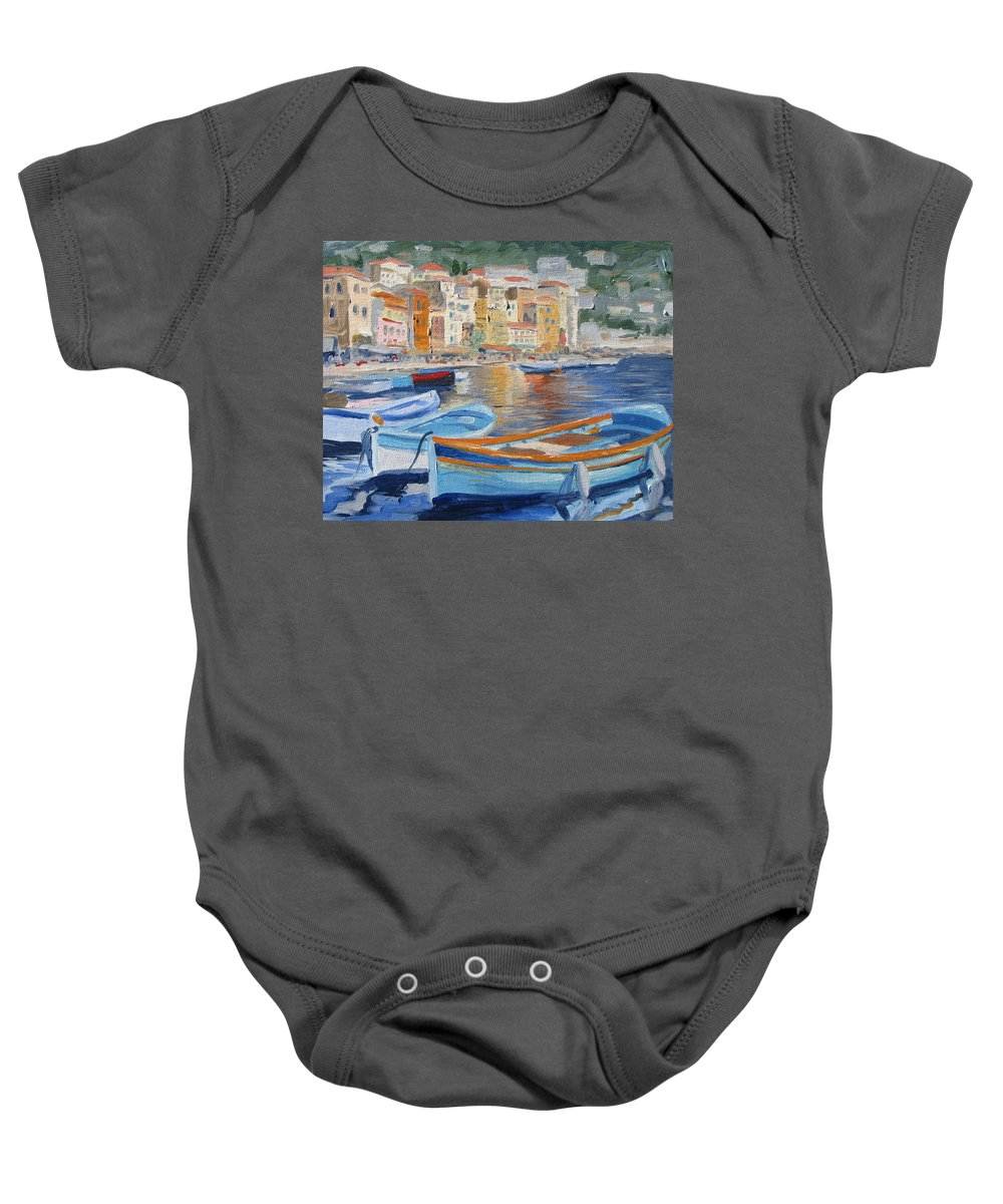 Seascape Baby Onesie featuring the painting French Harbor by Jay Johnson