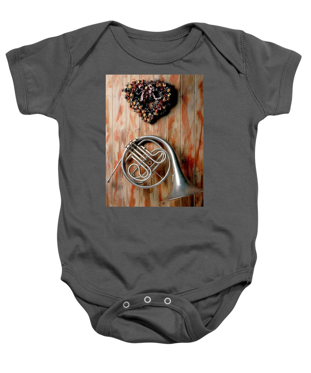 French Horn Baby Onesie featuring the photograph French Horn Hanging On Wall by Garry Gay